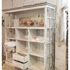 Instagram media by pretty.simply.studio - How stunning is this shelf made out of old windows  Upcycling at its best! Today's  #perfectpinparty theme is #upcycled Would love to see yours @somewhereonmain @smalltowngirllife @white_n_wood #shelf #oldwindows #chipped #distressed #vintage #old #new #upcycle #diy #white #furniture #pinterest