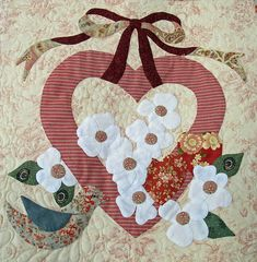 Appliqué by Janet Beyea from the Vintage Valentine pattern. Applique Patterns, Applique Quilts, Applique Designs, Quilt Patterns, Quilting Projects, Quilting Designs, Motifs D'appliques, Bird Quilt, Shabby Fabrics