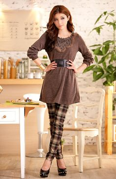 Delicate Coffee Nets Shape Collar Warmmer Dresses