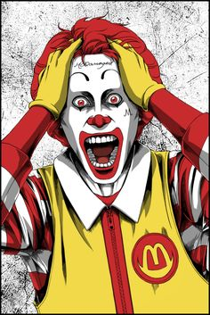 Parody mashup of Jared Leto as The Joker with Ronald McDonald (for a tshirt design) Please VOTE for it!! atwww.qwertee.com/product/mcdama…