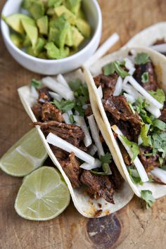 (try making w/beef. LT) Lamb Barbacoa with Chile Colorado Sauce & Avocado Tacos; I Love Food, Good Food, Yummy Food, Tasty, Chile Colorado, Lamb Recipes, Mexican Food Recipes, Cooking Recipes, Mexican Dishes