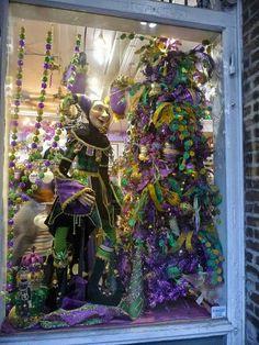 Mardi Gras window display.  New Orleans