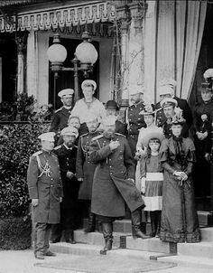 """Imperial Royal family of Russia with retainers,1890s. """"AL"""""""