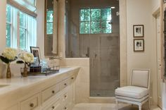 House of Turquoise: SummerHouse Interior Design  I love the window in the shower...almost like showering outside