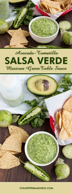 Avocado-Tomatillo Salsa Verde (or Mexican Green Table Sauce) - A recipe for the green sauce you find in Mexican restaurants. It's an ideal taco or burrito sauce, but you can also serve it as a salsa with salted chips. Tomatillo Salsa Verde, Salsa Verde With Avocado Recipe, Green Taco Sauce Recipe, Mexican Dishes, Mexican Food Recipes, Chutneys, Guacamole, Burrito Sauce, Sauce Recipes