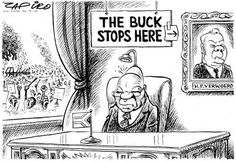 The buck stops with Verwoed. Zapiro depicts the tendency by Zuma to blame non-service delivery on the apartheid government.