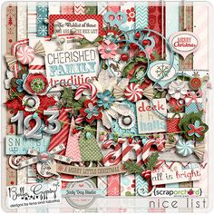 Digital Scrapbook Kit - Nice List by Bella Gypsy Designs & Jady Day Studio.