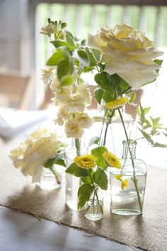 Vintage wedding inspiration - garden roses, stock, and mums