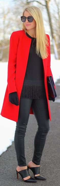 Red Coat like this! no collar , straight shape... maybe hidden buttons …