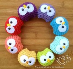 "Free pattern for ""Baby Owl Ornaments"" by Josephine Wu...I would make this as toys (or just for giggles) as well!"