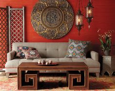 embrace the classic Moroccan-style interior in a full-blown fashion? Then the first thing you need to pick is the background color of your living area.. The neutral backdrop in white or cream is simply no longer good enough! Warm yellows and burnt oranges are often the preferred choice. For those who want a 'Mediterranean vibe' to their Moroccan living room, aqua, turquoise or teal is an exciting alternative.