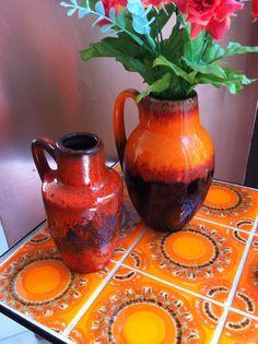 Retro tafel keramiek oranje retro ceramics West Germany WGP