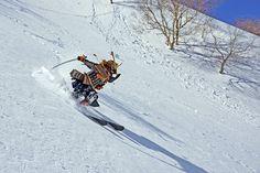 Skiing samurai shreds the slopes with katana ski pole Japan Skiing, Japanese Funny, Ski Season, Katana, Japanese Culture, Mount Everest, Samurai, Swords, Meme