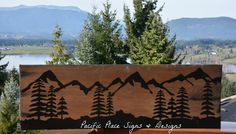 Trees and Mountains Wood sign Xmas Crafts, Crafts For Kids, Outdoor Wood Signs, Pacific Place, Customised Mugs, Sign Design, Trees, Mountains, Crafts For Children