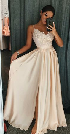 elegant ivory satin prom dress with appliques, fashion spaghetti strap evening dress with split