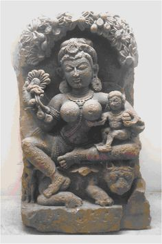 A Gupta period sandstone sculpture depicting Queen Maya and the infant Buddha. According to Buddhist traditional accounts, Queen Maya died seven days after the birth of her son.