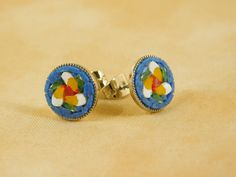 $18.00 #Micromosaic stud #earrings - yellow twirling flower on blue background. Available on PiccoloMosaico on #etsy #blue #yellow #twirling