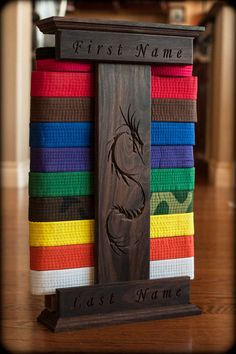 Personalized Karate Belt Display Dragon by MadeUSAStore on Etsy