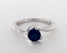 Round Blue Sapphire, Swirl Wheat Engraved Vintage Engagement Ring in White Gold by James Allen® Engagement Ring Styles, Designer Engagement Rings, Vintage Engagement Rings, Blue Sapphire Rings, Blue Rings, Engagement Rings Without Diamonds, Diamond Design, Dream Ring, Diamond Heart