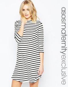 ASOS Maternity   ASOS Maternity Striped Rib Swing Dress at ASOS