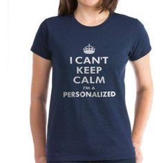 Cafepress Personalized I Can't Keep Calm Women's Dark T-Shirt, Size: Small, Blue