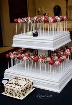 Wedding cake cake pop display. Will go great with my candy bar