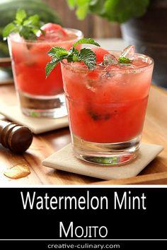 Mint Mojito, Watermelon Mojito, Mojito Cocktail, Refreshing Summer Cocktails, Fun Cocktails, Cocktail Recipes, Healthy Cocktails, Triple Sec, Cocktail Simple