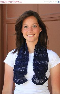 SALE Elegant Navy Blue Crocheted Scarf by WritingPlaces on Etsy, $12.75