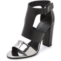 Vince Aretha Open Toe Sandals - Pewter/Black ($425) ❤ liked on Polyvore featuring shoes, sandals, black high heel sandals, ankle strap shoes, open toe sandals, metallic sandals and strap sandals