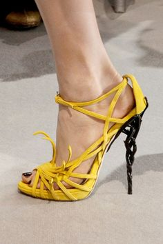 Christian Dior ~ Summer Canary Yellow Leather Sandal w Woven Metal Heel