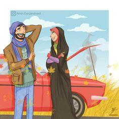 لبخند بزن! سختی ها از لبخند میترسن…! Cute Muslim Couples, Muslim Girls, Cute Couples, Muslim Women, Wedding Couples, Islamic Images, Islamic Pictures, Cartoon Drawings, Cartoon Art