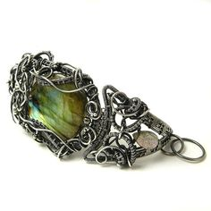 Silver wire wrapped bracelet with labradorite  by MadeBySunflower, $500.00
