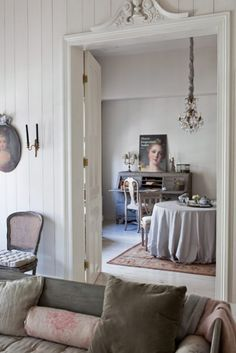 Whispery hues and ethereal Gustavian beauty find their place in a Dutch designer's retreat.