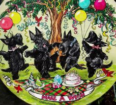 Scottish Terrier Celebration Platter Lazy Susan Scottie Cake Cupcake Centerpiece