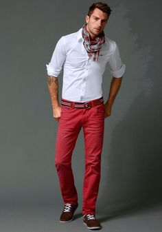 """Hilfiger Denim Jeans, neat tie on the scarf, fitted white chemise creates a pure, simple look to balance the bright red. Brown shoes to prevent a too """"matchy-matchy"""" look. Nice belt to tie everything together. Hilfiger Denim, Tommy Hilfiger, Fashion Moda, Look Fashion, Mens Fashion, Fashion Outfits, Scarf Outfits, Fashion Ideas, Mode Masculine"""