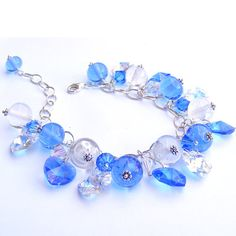 Lampwork bead and sterling silver bracelet
