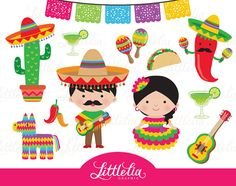 Fiesta clipart Mexican circo de Mayo clipart by LittleLiaGraphic