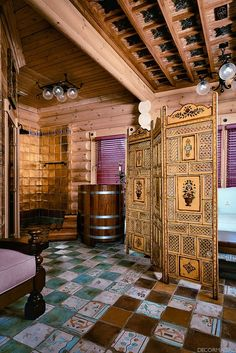 russian log homes | Russian home, log home, rich warm decor
