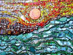 Mosaic sunset and river by Kentigern