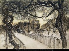 Peter Pan on a Branch, scene from Peter Pan in Kensington Gardens by J.M Barrie, 1912  by Arthur Rackham