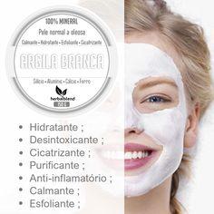 ARGILA BRANCA HERBAL BLEND  A Argila Branca Herbal Blend hidrata limpa a pele profundamente eliminando as toxinas e impurezas da pele e do couro cabeludo remove manchas da pele devido ao seu poder clareador e cicatrizante. A argila branca tem propriedades terapêuticas é muito benéfica à saúde possui pH muito próximo ao da pele por esta razão é a argila mais suave de todas.  Quem deve usar? Pode ser usado em todos os tipos de pele principalmente as peles oleosas e acneicas pois absorve o… Beauty Make Up, Beauty Care, Beauty Skin, Beauty Hacks, Healthy Beauty, Health And Beauty, Glossy Eyes, Beauty Clinic, Tips Belleza