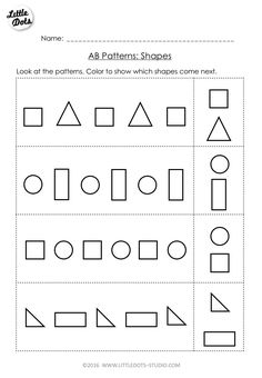 Free AB Pattern Worksheet for pre-k. Continue the AB patterns by coloring which shapes come next.