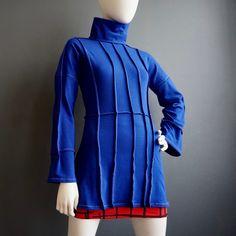 Cross the Line – iheartfink Womens Handmade Solid Royal Blue Long Sleeve Tunic Top