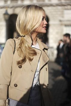 Hair blonde side ponytail & The Trench Jacket