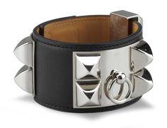 Hermes - a Black Tadelakt Leather Collier de Chien Bracelet, 2012. Palladium Hardware - at Christie's.