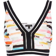 River Island Pink print sporty crop top ($40) ❤ liked on Polyvore featuring tops, crop tops / bralets, pink, women, sleeveless crop top, fitted tops, white crop top, sleeveless tops and bralette tops