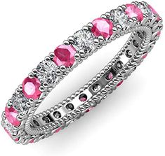 Your Personal Ejeweler..This stunning Eternity Band is Ornamented with striking U-Prong set Pink Tourmaline and Diamond with rope like milgrain embellished all the way around the shank. #Trijewels #Ejeweler #Eternity #Diamond #PinkTourmaline #EternityRing #WeddingBand #EternityBand #Ring #WomensRing #Gift #Love #Wedding #Engagement #Womenjewelry #JewelryBuyers #AnniversaryRing #Wedding #YellowGold #WhiteGold #RoseGold #StackableRing #Gold #Stackable #WomensRings #GoldRing Wedding Engagement, Wedding Bands, Prong Set, Eternity Bands, Pink Tourmaline, Anniversary Rings, Shank, Gold Rings, White Gold