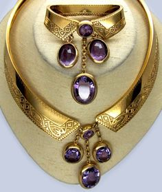 Antique French Gold & Amethyst Collar And Brooch - Circa Purple Jewelry, Amethyst Jewelry, Gems Jewelry, Jewelry Art, Jewelry Accessories, Fine Jewelry, Fashion Jewelry, Jewellery, Victorian Jewelry
