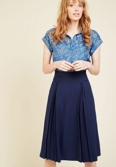 1940s Pleats to Make Your Acquaintance Midi Skirt $59.99 AT vintagedancer.com