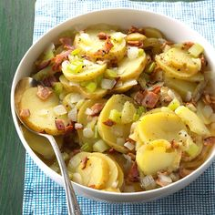 Potluck German Potato Salad Recipe -This is a big hit at church potlucks. One ma… Potluck German Potato Salad Recipe -This is a big hit at church potlucks. One man says he only comes so he can eat my potato salad! Potato Dishes, Potato Recipes, 3 Potato Salad Recipe, Corn Recipe, Chips Recipe, Chicken Recipes, German Potatoes, German Potato Soup, Grilled Mushrooms